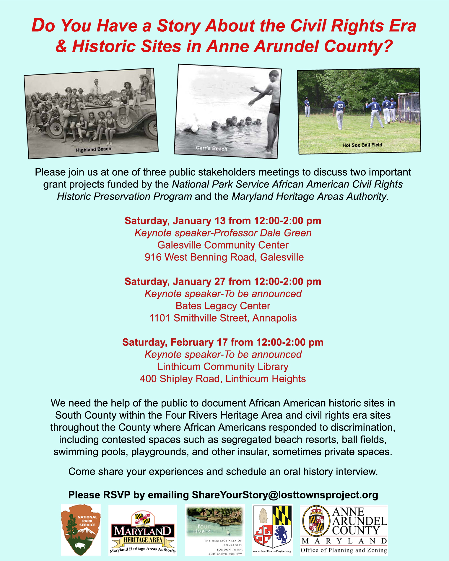 Upcoming NPS Civil Rights and MHAA Grants Public Meetings Flyer